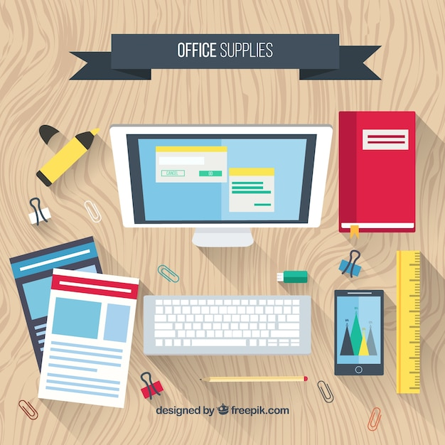 computer with flat office accessories vector free download