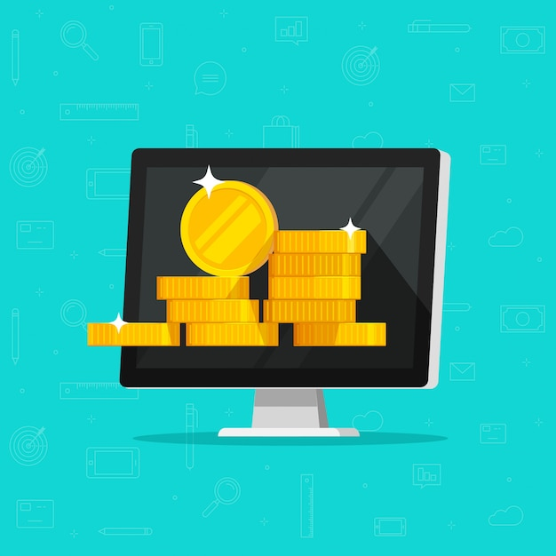Computer with money or internet earnings  illustration flat cartoon Premium Vector