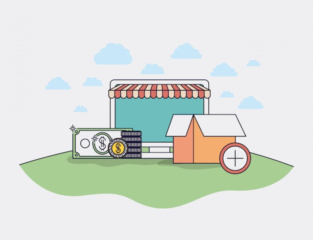 Computer with parasol and ecommerce icons vector illustration design Premium Vector