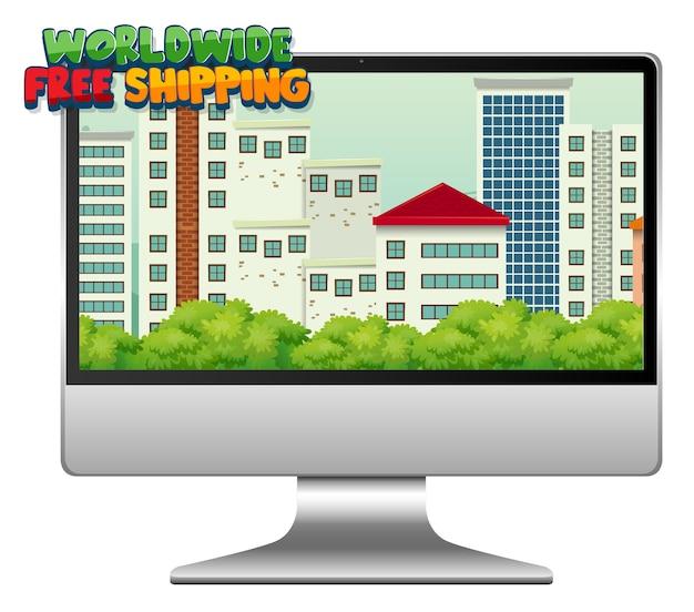 Компьютер с логотипом бесплатной доставки по всему миру Бесплатные векторы