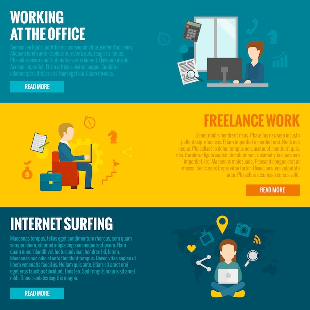 Computer working banners Free Vector