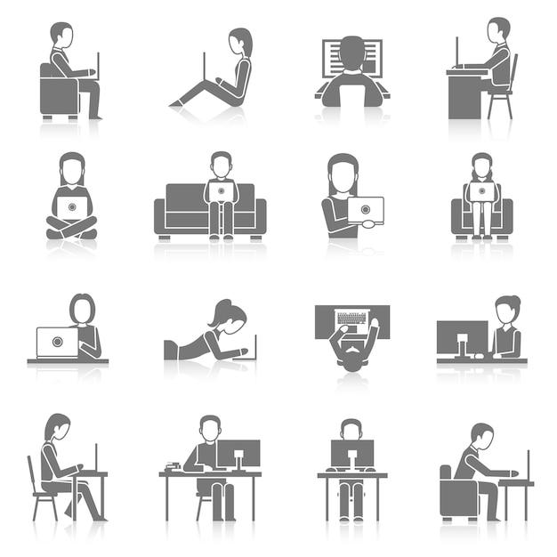 Computer working icons set Premium Vector