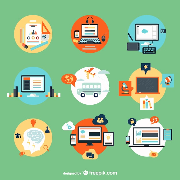 Computers and school elements  Free Vector