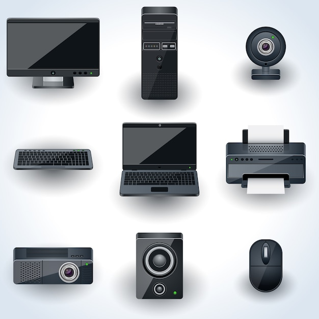Computers and peripherals vector icons. realistic miniatures collection Premium Vector