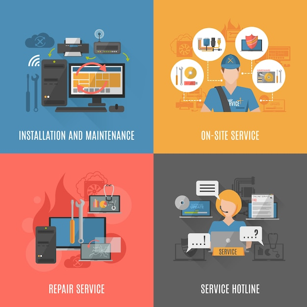 Computers repair 4 flat icons square Free Vector