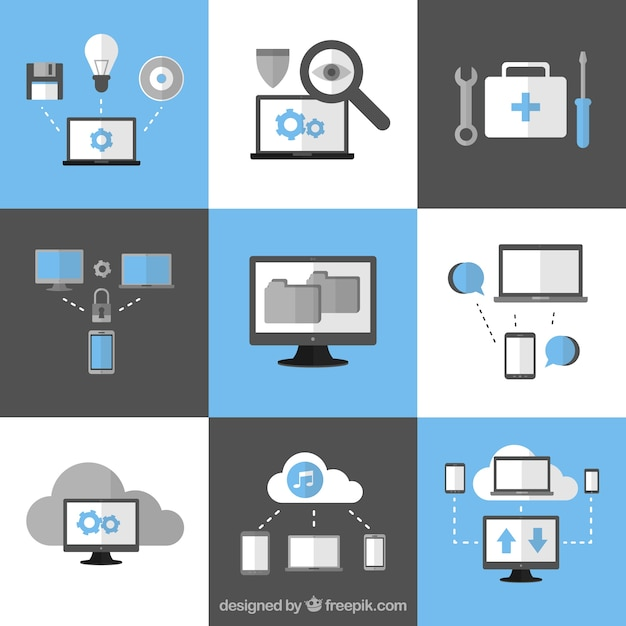 Computing cloud icons Free Vector