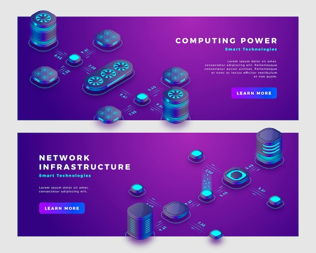 Computing power and database concept banner template. Premium Vector