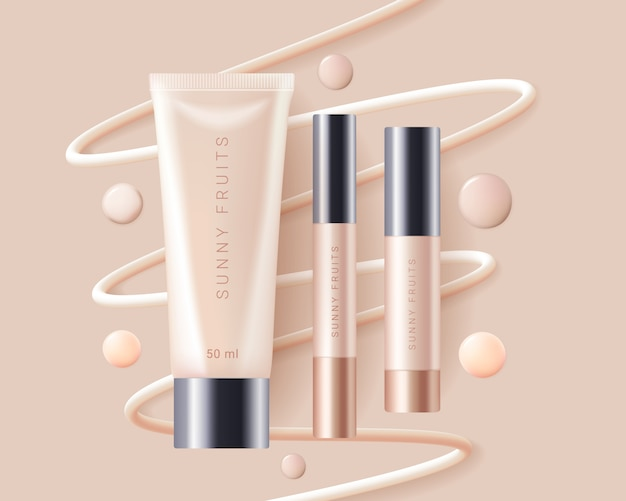 Concealer, foundation cosmetics ads template Premium Vector