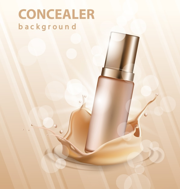 Concealer stick ads, 3d illustration foundation product with liquid foundation texture splashes in the air. Premium Vector