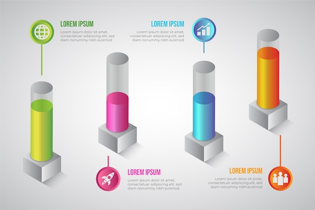 Concept of 3d bars infographic Free Vector