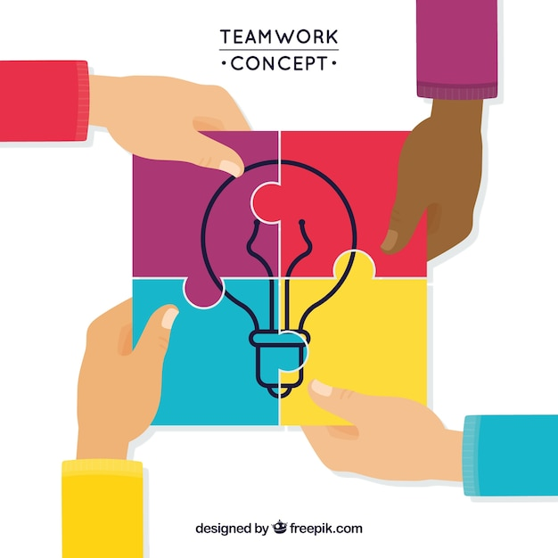 Concept about teamwork in full color Free Vector