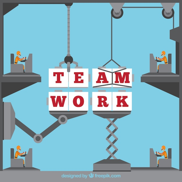 Concept about teamwork, machinery