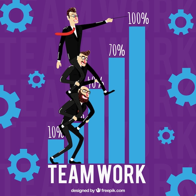 Concept about teamwork, purple\ background