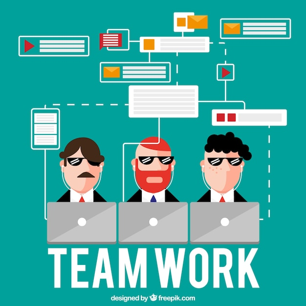 Concept about teamwork, three employees