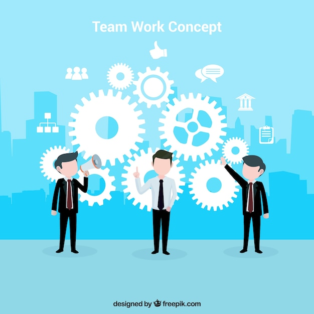 Concept about teamwork with a blue background Free Vector