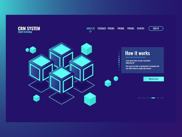 Concept of abstract data memory blocks, server room, hosting website page Free Vector