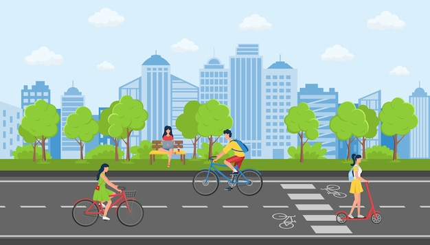 Concept of activity in a city public park against the background of city buildings. Premium Vector
