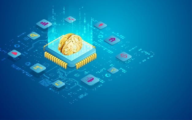 Concept of ai technology as microchip with brain Premium Vector