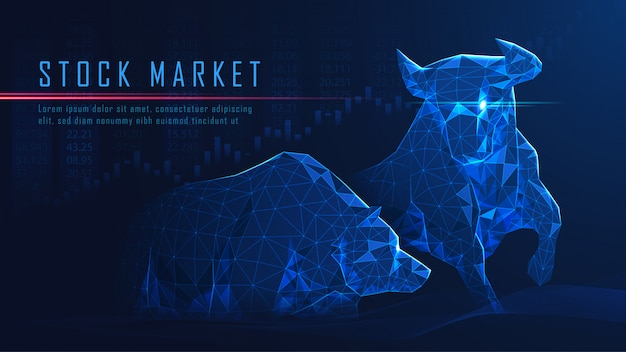 Concept art of bullish vs bearish Premium Vector