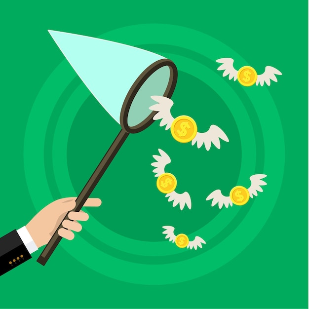 Concept of attracting investments. hand holding butterfly net and catching money. Premium Vector