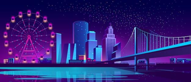 Концепция фон с ночным городом Бесплатные векторы