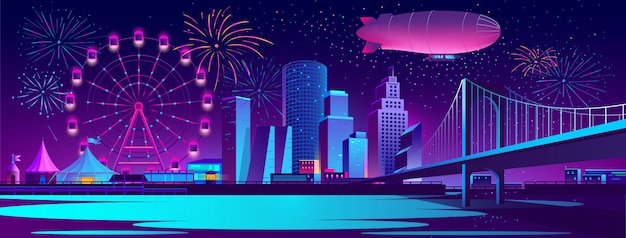 Concept background with night city Free Vector