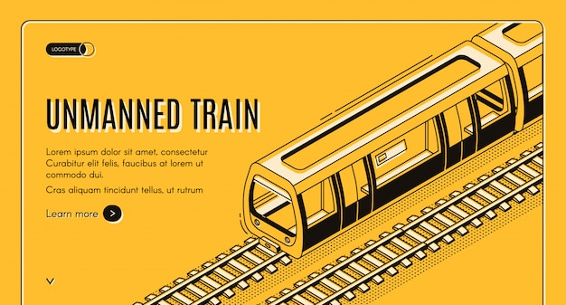 Concept banner with unmanned electric train Free Vector