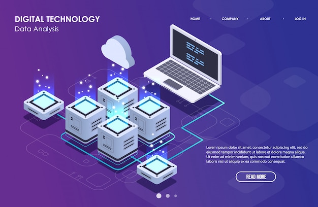 Concept of big data processing, isometric data center, vector information processing and storage. creative illustration with abstract geometric elements. Premium Vector