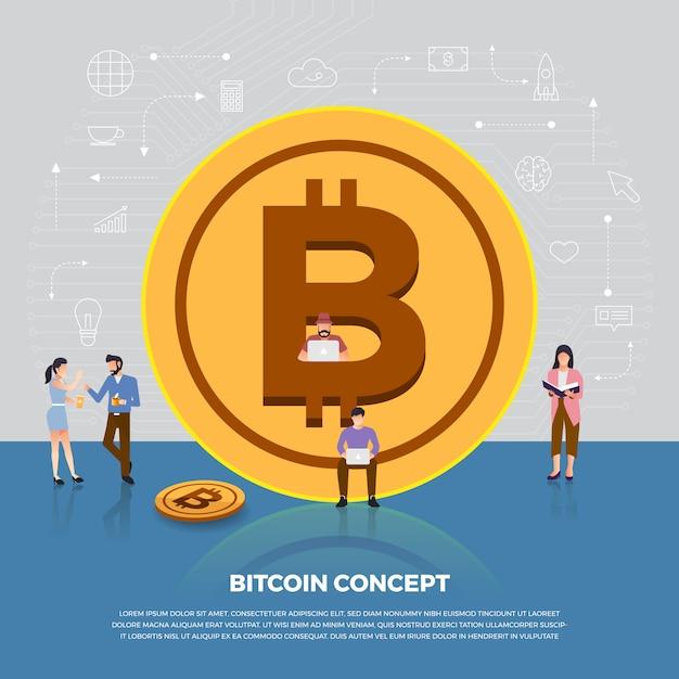 コンセプトビットコイン暗号通貨。グループの人々の開発アイコンビットコインとグラフのグラフ。説明します。 Premiumベクター