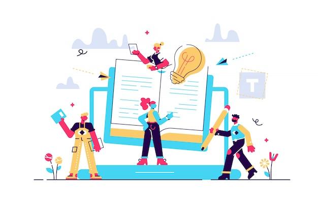 Концепция блоггинг, образование, творческое письмо, новости управления контентом, копирайтинг, семинары, учебное пособие Premium векторы