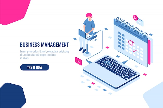 Concept of business manager, schedule in calendar, mark important affair and event on the calendar Free Vector