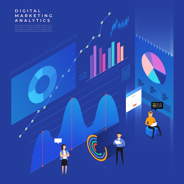 Concept business strategy.  isometric flat . analysis data and investment. business success.financial review with laptop and infographic elements.  illustration. Premium Vector
