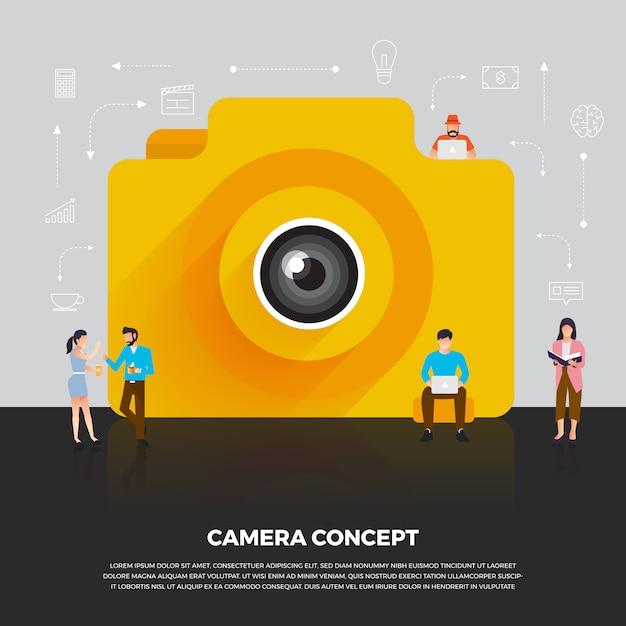 Concept camera mobile. group people develop icon camera mobile device.  illustrate. Premium Vector