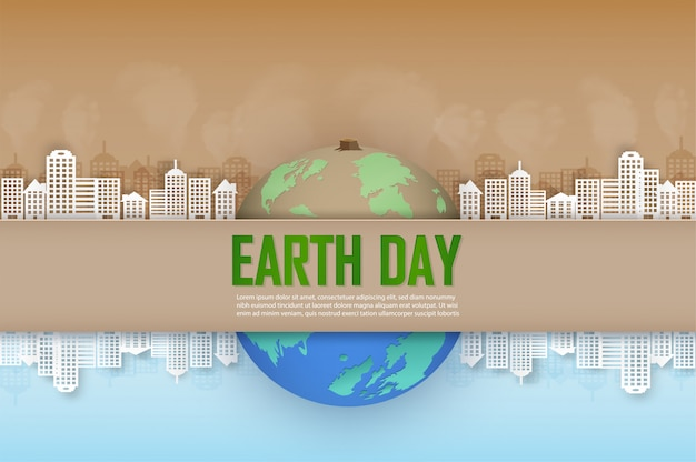 Concept of the campaign and help maintain our world and planting trees for a bright future. Premium Vector