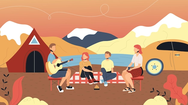 Concept of camping and summer landscapes. characters are having a good time outdoor. family is sitting together near tent camp and singing songs with guitar. cartoon flat style. vector illustration. Premium Vector