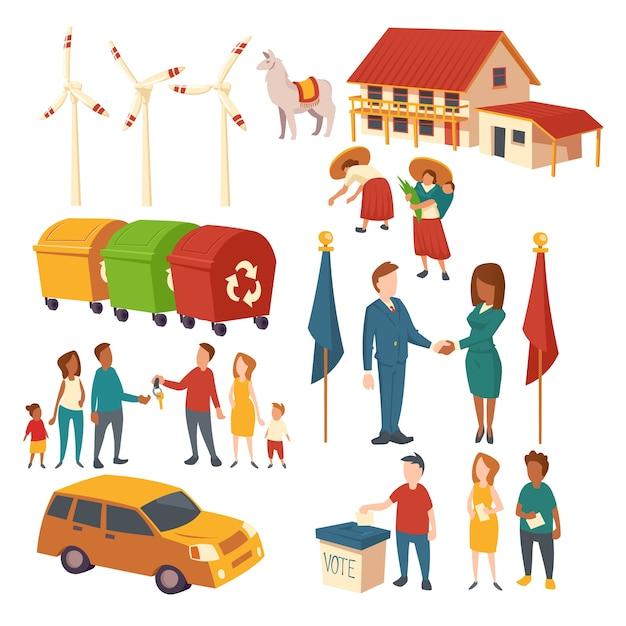 Clipart di concetto di elezione politica, accordo, acquisto di auto, riciclare rifiuti, energia ecologica e piantagioni. insieme del fumetto di persone che agiscono, casa, lama, mulini a vento e bidoni della spazzatura Vettore gratuito