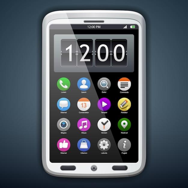 Concept communicator with app icons. Premium Vector