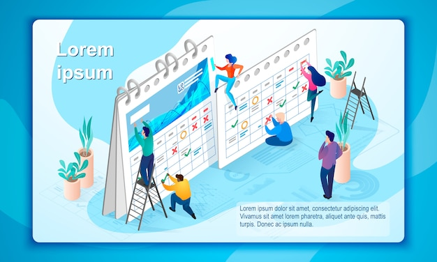 The concept of company time management Premium Vector