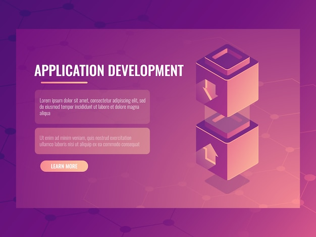 Concept of constructing and development application Free Vector
