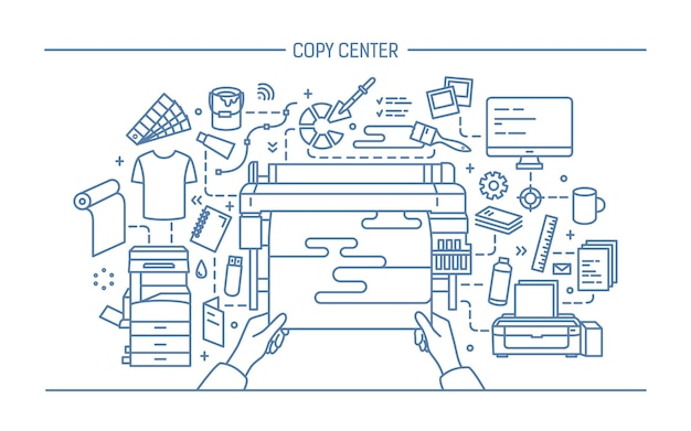 Concept of copy center, print shop, publishing. illustration with printer, monitor, scanner, different equipment. black and white vector illustration in lineart style Premium Vector