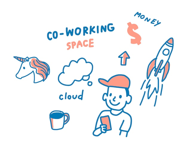 Concept of coworking space illustration Free Vector