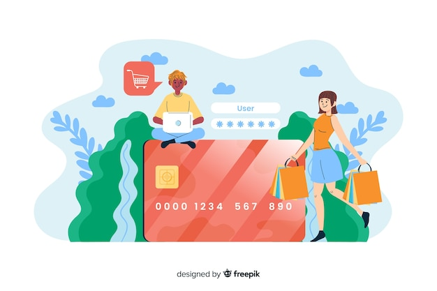 Concept credit card payment for landing page Free Vector