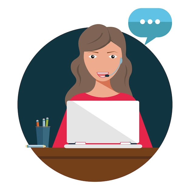 Concept customer and operator, online technical support 24-7 for web page. Premium Vector