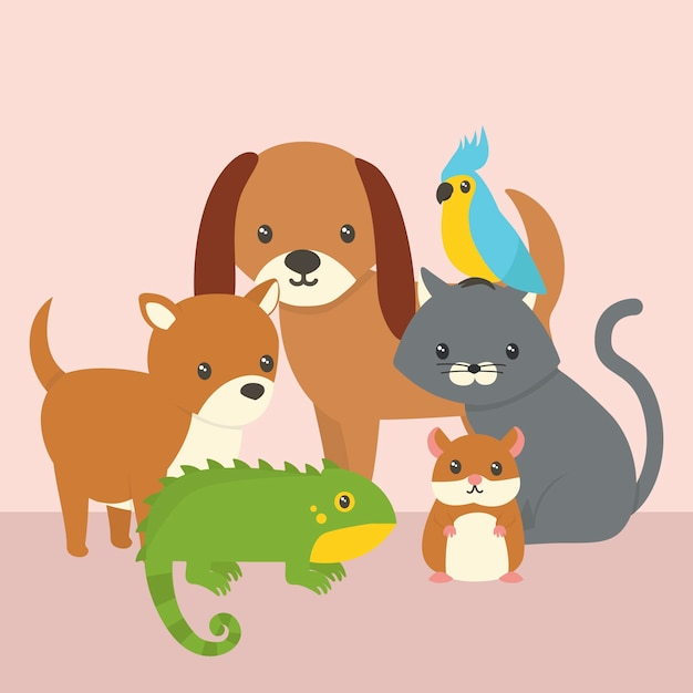Concept of cute different pets Free Vector