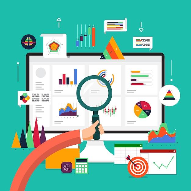 Анализ концептуальных данных. визуализируйте рост маркетинга с помощью графиков и диаграмм. иллюстрации. Premium векторы