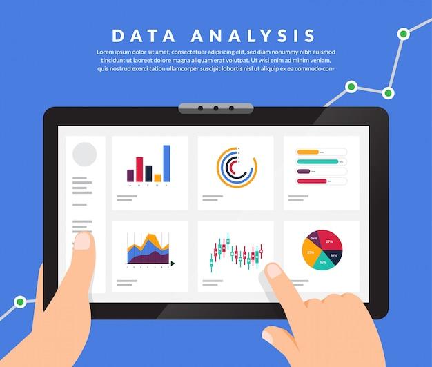Анализ концептуальных данных. визуализируйте рост маркетинга с помощью графиков и диаграмм. иллюстрация. Premium векторы