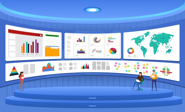 Concept data analysis. visualize with graph and chart marketing growth.  illustration. Premium Vector