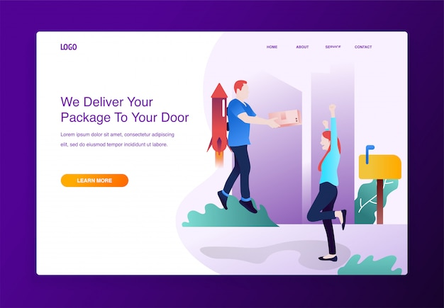 Concept of delivery service, happy woman waiting for his parcel from rocket man Premium Vector