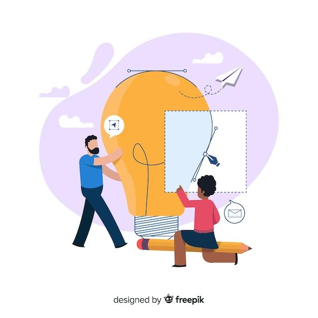Concept design process landing page Free Vector