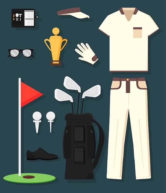 Concept of detailed golf equipment and clothing: trophy, bag, club, ball, flag, cap, gloves, shirt, shoe, pans. man's sport. Premium Vector